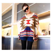 Scoop Neck Geometry Pattern Sweater Cardigan