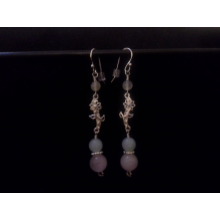 Moonstone, Rose Quartz, and Amazonite Sterling Silver Earrings