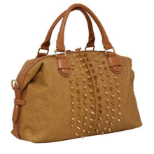 Snake Print Satchel w/Spikes TAN